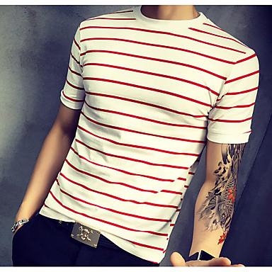 economico Abbigliamento uomo-T-shirt Per uomo Essenziale Con stampe, A strisce Rotonda - Cotone Rosso XXXL / Manica corta / Estate / Lungo / Taglia piccola