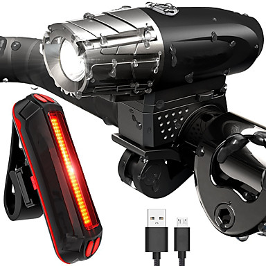 cheap Bike Lights-LED Bike Light Rechargeable Bike Light Set Front Bike Light Rear Bike Tail Light LED Cycling Waterproof Lightweight Rechargeable Battery 800 lm Rechargeable Battery White Cycling / Bike