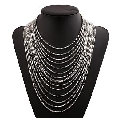 olcso Divat nyaklánc-Rakott nyakláncok Egymásra rakható Folyékony ezüst nyaklánc hölgyek Divat Túlméretezett Rozsdamentes Arany Fekete Ezüst 36 cm Nyakláncok Ékszerek Kompatibilitás Klub Bár