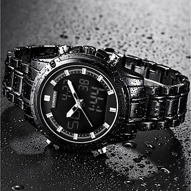 Недорогие Часы на металлическом ремешке-Муж. Нарядные часы электронные часы Японский Кварцевый Нержавеющая сталь Черный / Золотистый 30 m Календарь Хронометр Фосфоресцирующий Аналого-цифровые Роскошь Классика - Белый Оранжевый Красный