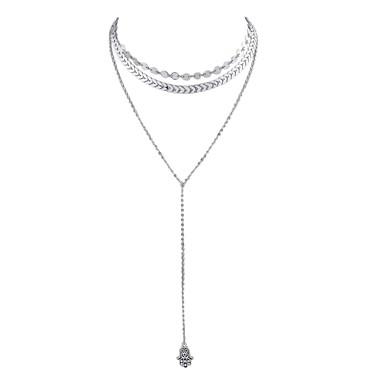billige Mode Halskæde-Halskæder med flere lag lang halskæde Damer Sølv Hamsa-hånd 39 cm Halskæder Smykker 2pcs Til Fest / aften Skole