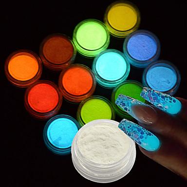 12bottle/set Glitter & Poudre Diğer Süslemeler pırıltılar Klasik Sevimli Parıltılı Karanlıkta Parlayan Neon ve Parlak Düğün Yüksek kalite