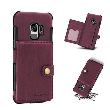 [$8.99] Case For Samsung Galaxy S9 S9 Plus Card Holder Wallet Shockproof Back Cover Solid Colored Hard Genuine Leather for S9 Plus S9 S8 Plus S8