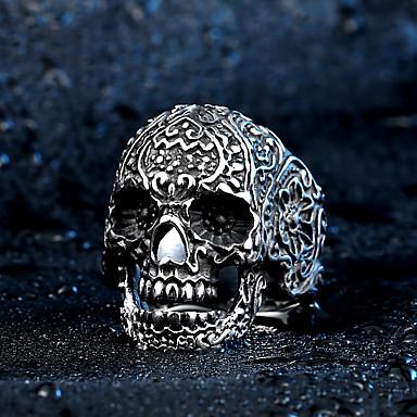 Bărbați Inel - Teak, Oțel titan Craniu Rock, Modă 7 / 8 / 9 Argintiu Pentru Halloween / Zilnic / Casual