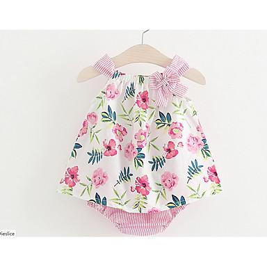ieftine Haine Bebeluși-Bebelus Fete Elegant & Luxos Zilnic Floral Fără manșon Regular Bumbac Set Îmbrăcăminte Roz Îmbujorat / Copil
