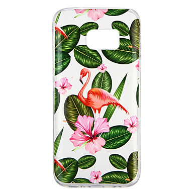 [$2.99] Case For Samsung Galaxy S7 Transparent Pattern Back Cover Plants Flamingo Soft TPU for S7
