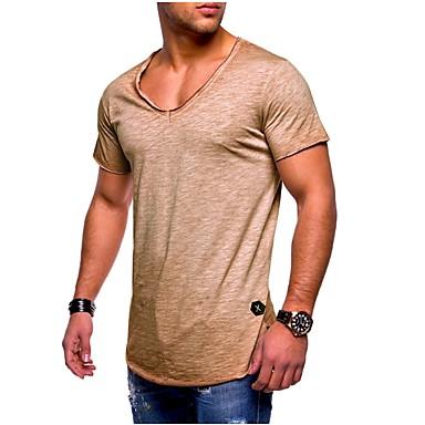 abordables Ropa de Moda Hombres-Hombre Básico Deportes Tallas Grandes Algodón Camiseta Delgado Un Color Gris XL / Manga Corta / Verano