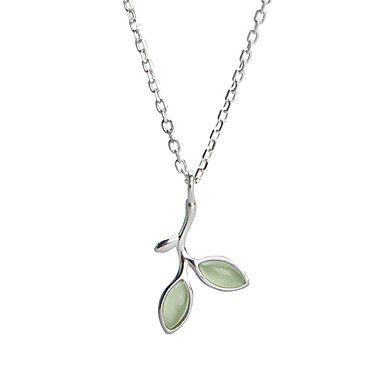 cheap Necklaces-Women's Pendant Necklace Leaf Ladies Simple Sweet Fashion Gemstone S925 Sterling Silver Light Green 44.5 cm Necklace Jewelry For Gift Daily