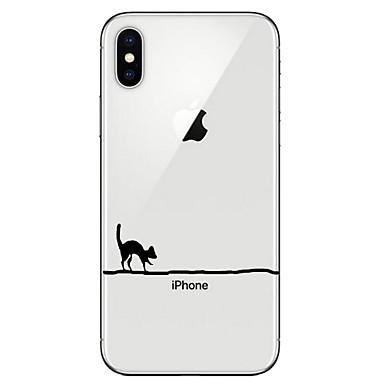 voordelige iPhone 6 hoesjes-hoesje Voor Apple iPhone X / iPhone 8 Plus / iPhone 8 Transparant / Patroon Achterkant Kat Zacht TPU