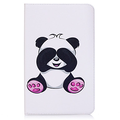 [$14.99] Case For Samsung Galaxy Tab E 9.6 Card Holder Wallet with Stand Pattern Auto Sleep / Wake Up Full Body Cases Panda Hard PU Leather for