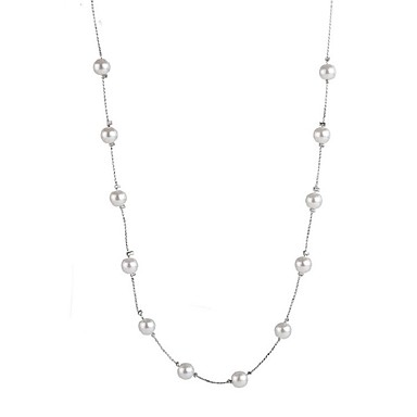 cheap Chain Necklaces-Tanzanite Choker Necklace Long Necklace Ladies Sweet Fashion Pearl Alloy Silver 50+5 cm Necklace Jewelry For Holiday Going out