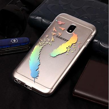 voordelige Galaxy J-serie hoesjes / covers-hoesje Voor Samsung Galaxy J7 (2017) / J7 (2016) / J7 Beplating / Patroon Achterkant Veren Zacht TPU