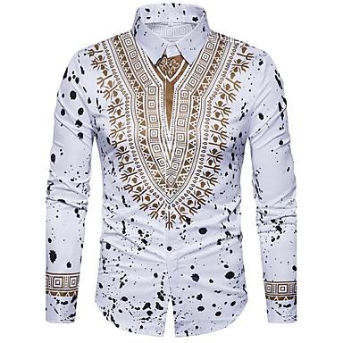 billige Herrers Mode Beklædning-Klassisk krave Tynd Herre - Tribal Bomuld, Trykt mønster Luksus / Vintage / Boheme Skjorte Hvid XL / Langærmet