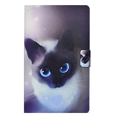 voordelige Samsung Tab-serie hoesjes / covers-hoesje Voor Samsung Galaxy Tab 3 Lite Kaarthouder / Schokbestendig / met standaard Achterkant Kat Hard PU-nahka