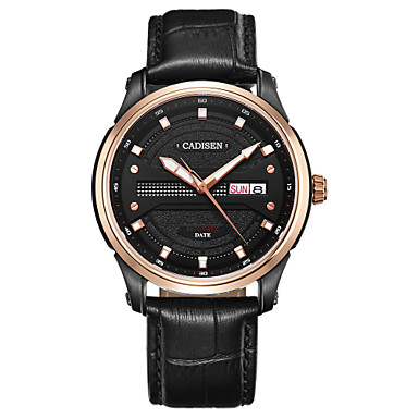 levne Pánské-CADISEN Pánské mechanické hodinky japonština Pravá kůže Černá 50 m Voděodolné Kalendář Pohodě slovo / fráze Analogové Luxus Módní - Černá Černá / Růžové zlato / Nerez / Svítící