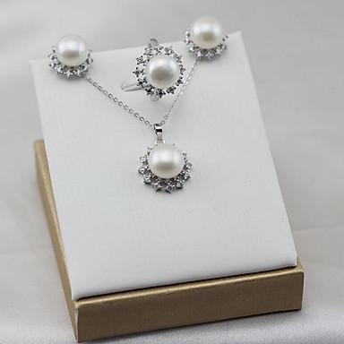 a9ca439dcdda abordables Juego de Joyas-Mujer Zirconia Cúbica Perlas de agua dulce  Conjunto de joyas Perla