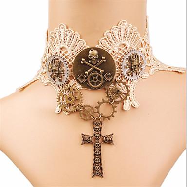Rozen Kristall Cranii Cool Gothic Lolita În Cruce Gotic Coliere Choker Pentru Petrecere Bal Pentru femei Fete Costum de bijuterii / Steampunk / de ceas