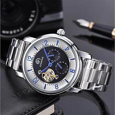 levne Pánské-Pánské mechanické hodinky Nerez Stříbro 50 m S dutým gravírováním Velký ciferník Analogové Luxus Kostra - Černá / Bílá Bílá / Zlatá Zlato / stříbro / černá