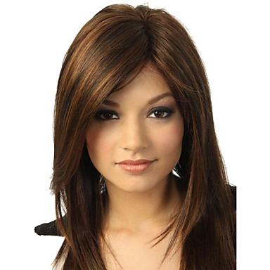 Sentetik Peruklar Düz Yan parça / Bantlı Sentetik Saç Işıltılı / Balyajlı Saç Kahverengi Peruk Kadın's Orta Bonesiz