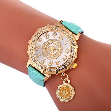Xu™ نسائي ساعة فستان ساعة المعصم كوارتز جلد اصطناعي أسود / الأبيض / أزرق إبداعي ساعة كاجوال محبوب مماثل سيدات زهر موضة - أخضر أزرق ذهبي سنة واحدة عمر البطارية / تقليد الماس / طرد كبير