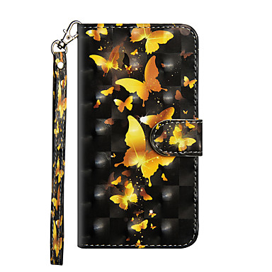 غطاء من أجل Apple iPhone X / iPhone 8 Plus / iPhone 8 محفظة / حامل البطاقات / مع حامل غطاء كامل للجسم فراشة قاسي جلد PU