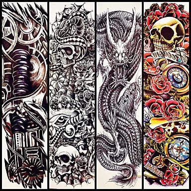 4 pcs ملصقات الوشم الوشم المؤقت سلسلة الطوطم الفنون الجسم ذراع