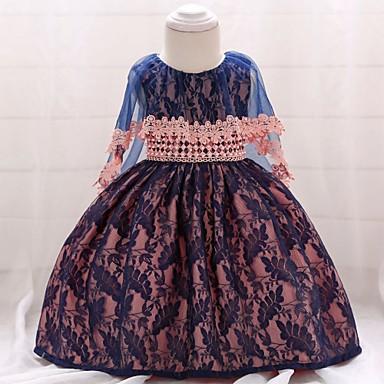 billige Babytøj-Baby Pige Vintage I-byen-tøj / Fødselsdag Ensfarvet Uden ærmer Knælang Bomuld Kjole Navyblå