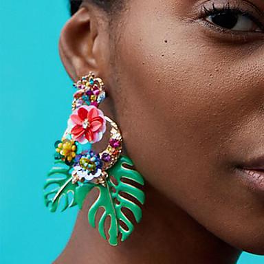 povoljno Naušnice-Žene Viseće naušnice Cvjetni / Botanicals Leaf Shape Cvijet dame Europska Moda afrički Naušnice Jewelry Crvena / Zelen / Light Pink Za Dnevno Ured i karijera 1 par
