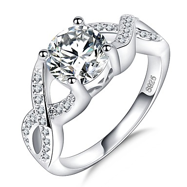 نسائي خاتم 1PC فضي مطلي بالبلاتينيوم تقليد الماس ذهب ابيض أربعة، برونغس سيدات تصميم فريد شائع زفاف مناسب للحفلات مجوهرات عبور HALO متصنع ثمين ما لا نهاية جميل