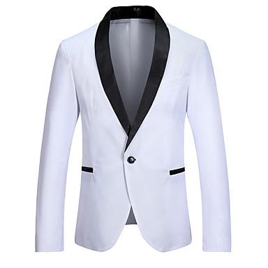 رجالي أبيض أسود نبيذ M L XL سترة ألوان متناوبة V رقبة / كم طويل