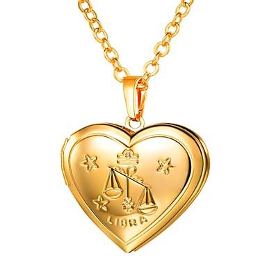billige Mode Halskæde-Dame Lang Zodiac Indgraveret Halskædevedhæng Medaljon Vægten Damer Romantik Mode Heart Guld Sølv 55 cm Halskæder Smykker 1pc Til Gave Daglig