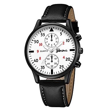 Geneva نسائي ساعة المعصم كوارتز جلد أسود / بني / أزرق داكن تصميم جديد ساعة كاجوال كوول مماثل كاجوال موضة - أسود / أبيض أبيض / البيج فضي / أزرق سنة واحدة عمر البطارية