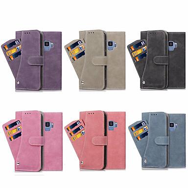 غطاء من أجل Samsung Galaxy S8 Plus / S8 / S7 edge حامل البطاقات / مع حامل / قلب غطاء كامل للجسم لون سادة قاسي جلد PU
