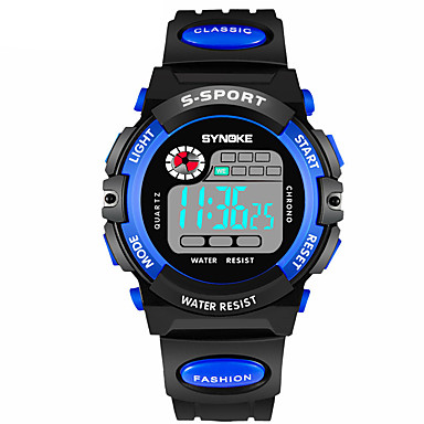 Χαμηλού Κόστους Ανδρικά ρολόγια-SYNOKE Ανδρικά Αθλητικό Ρολόι Ψηφιακό ρολόι Ψηφιακό Συνθετικό δέρμα με επένδυση Μαύρο 30 m Ανθεκτικό στο Νερό Ημερολόγιο Χρονογράφος Ψηφιακό Μοντέρνα - Κίτρινο Κόκκινο Μπλε / Διπλές Ζώνες Ώρας