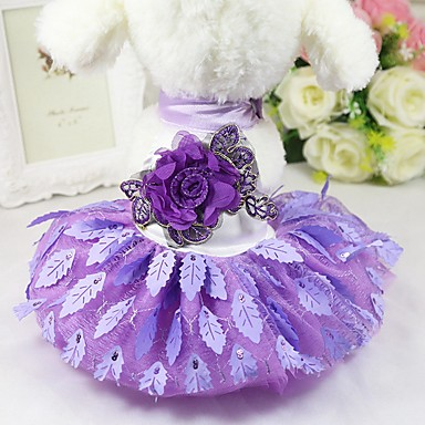 cheap Dog Clothing & Accessories-Dogs Cats Pets Dress Holiday Decorations Dog Clothes Jacquard Flower / Floral Embroidered Purple Red Net Costume For Husky Labrador Alaskan Malamute All Seasons Female Sports & Outdoors Stylish