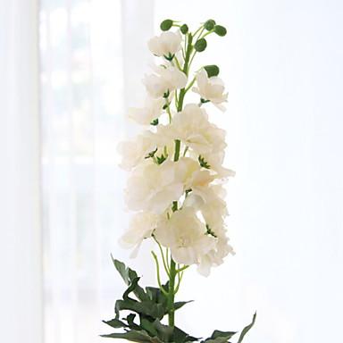 زهور اصطناعية 1 فرع كلاسيكي زهري الدافينيومات أزهار الأرض