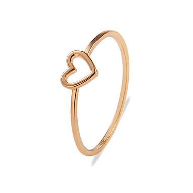 نسائي خاتم الذيل الدائري 1PC ذهبي فضي سبيكة غير منتظم سيدات أنيق بسيط هدية مناسب للبس اليومي مجوهرات مجوّف قلب محبوب