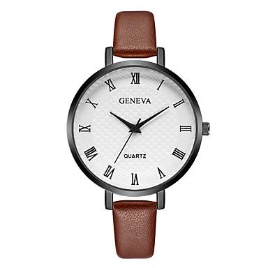 Geneva نسائي ساعة المعصم كوارتز جلد أسود / أحمر / بني تصميم جديد ساعة كاجوال كوول مماثل سيدات كاجوال موضة - أحمر أبيض / البيج أسود / ذهبي روزي سنة واحدة عمر البطارية