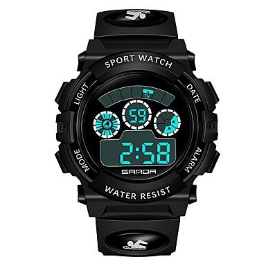 رخيصةأون ساعات الرجال-SANDA رجالي نسائي ساعة رياضية ساعة رقمية ياباني رقمي جلد اصطناعي أسود 30 m مقاوم للماء رزنامه ساعة التوقف رقمي كرتون موضة - أصفر أحمر أزرق / قضية / المرحلة القمر