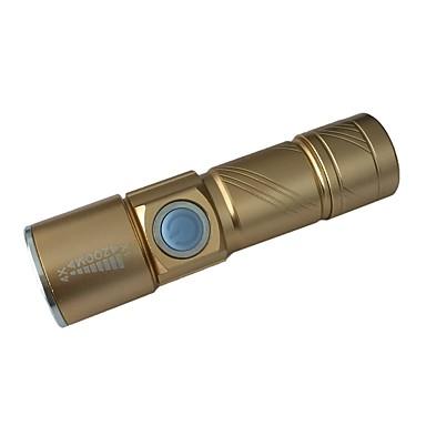 ismartdigi S LED Flashlights LED بواعث محمول المضادة للالإنزلاق Camping / Hiking / Caving Everyday Use الصيد ذهبي أسود