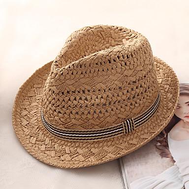 economico Abbigliamento uomo-Per uomo Essenziale Vacanze Cappello di paglia-Paglia Monocolore Estate Beige Cachi