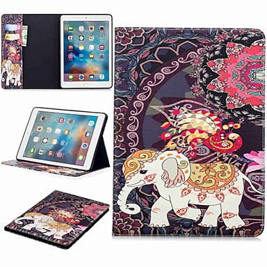 غطاء من أجل Apple ايباد ميني 5 / iPad New Air (2019) / iPad (2018) محفظة / حامل البطاقات / مع حامل غطاء كامل للجسم حيوان / فيل قاسي جلد PU / iPad (2017)