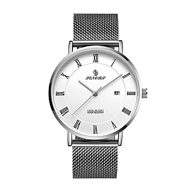 cheap Men's Watches-REBIRTH Men's Dress Watch Wrist Watch Japanese Japanese Quartz Stainless Steel Black / Silver 30 m Calendar / date / day Casual Watch Analog Classic Casual Minimalist - Black Silver Two Years Battery