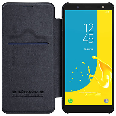 voordelige Galaxy J-serie hoesjes / covers-hoesje Voor Samsung Galaxy J7 Duo / J6 / J4 Kaarthouder / Flip Volledig hoesje Effen Hard PU-nahka