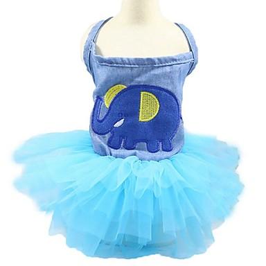 القوارض كلاب قطط الفساتين ملابس الكلاب نسيج رقيق وشفاف وردة أميرة أزرق أزرق فاتح جينزات كوستيوم من أجل هاسكي لابرادور Malamute ألاسكا كل الفصول انثى تصميم أنيق رومانسي