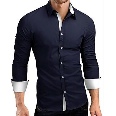 رجالي عمل الأعمال التجارية / بانغك & قوطي قياس كبير - قطن قميص, ألوان متناوبة / كم طويل