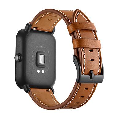 حزام إلى Huami Amazfit Bip Younth Watch Xiaomi بكلة عصرية جلد طبيعي شريط المعصم