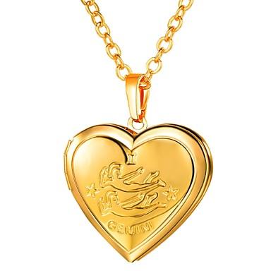 billige Mode Halskæde-Dame Lang Zodiac Indgraveret Halskædevedhæng Medaljon Hjerte Damer Romantik Mode Heart Guld Sølv 55 cm Halskæder Smykker 1pc Til Gave Daglig