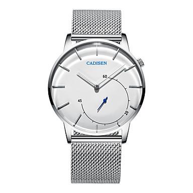 CADISEN رجالي ساعة المعصم كوارتز ستانلس ستيل الأبيض 30 m مقاوم للماء ساعة كاجوال مماثل موضة الحد الأدنى - أسود أبيض سنتان عمر البطارية