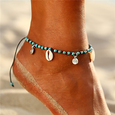 cheap Body Jewelry-Women's Turquoise Anklet Ankle Bracelet feet jewelry Braided Beads Donuts Shell Puka Shell Ladies Dangling Bohemian Boho Shell Anklet Jewelry Turquoise For Holiday Going out